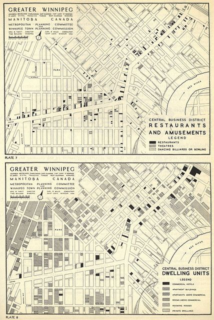 Metropolitan Planning Committee; Winnipeg Town Planning Commission. Central Business District Restaurants Amusements and Dwelling Units [map]. 1:12,000. In: Metropolitan Planning Committee and Winnipeg Town Planning Commission. Central Business Distr Superb restaurant.