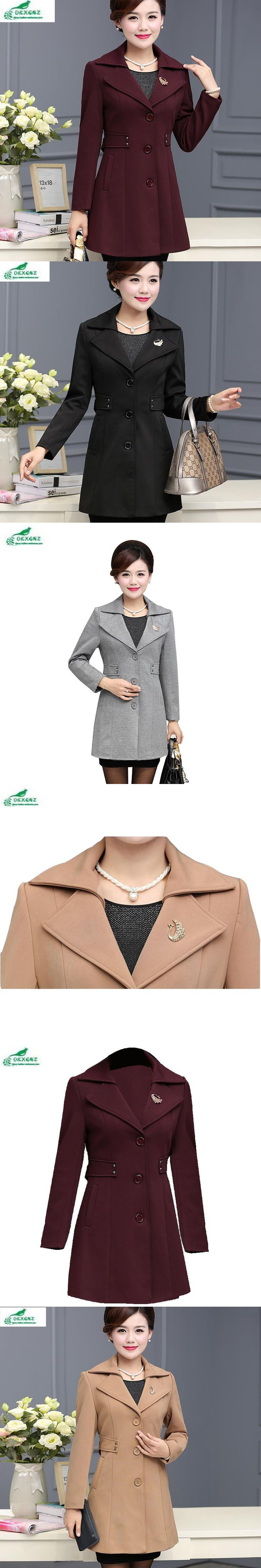 Autumn in the elderly Women's windbreaker fashion in the long section of large size XL-4XL new spring coat female OKXGNZ QQ883