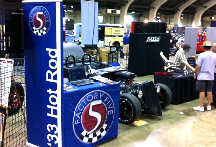 The LA Roadster Show at the Pomona Fairgrounds was a big success this weekend for Factory Five as our booth say a ton of traffic. The booth was manned by Factory Five customer Erik Hansen who reports that there were many interested show attendees stopping by and commenting on how they loved the idea of a classic 30′s Hot Rod that could actually handle and be taken to the track.