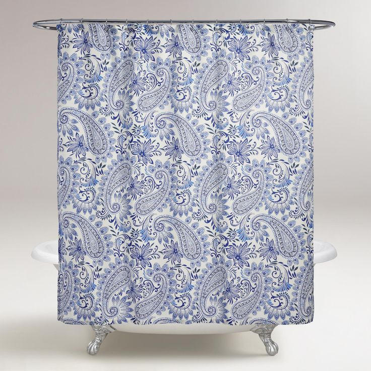 The Dreamy Blue Hues And Paisley Pattern Of Our Shower Curtain Lends An Eclectic Look To