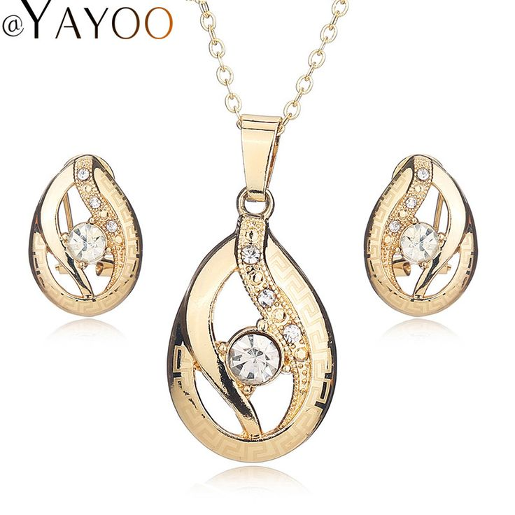 Wedding Bridal Jewelry Sets For Women African Beads Vintage Earrings Necklace Imitation Crystal Gold Plated Dress Accessories