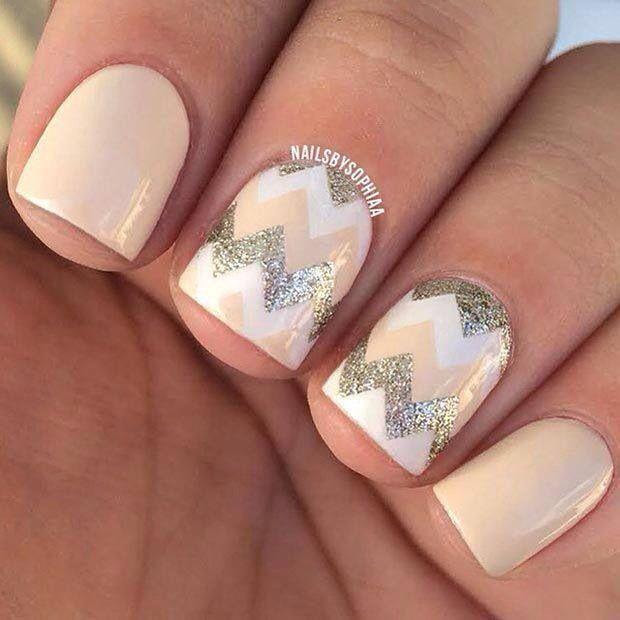 Peach • White • Silver Glitter • Nail Art • Zigzag