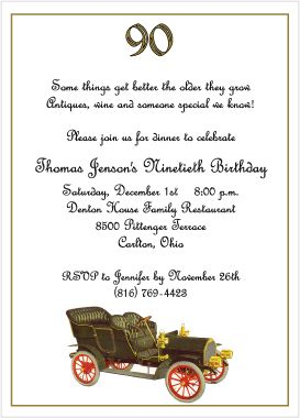90th Birthday Invitations
