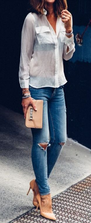 Love this casual look!  Denim, white blouse and nude heels and bag Women's fashion clothing outfit for spring fall