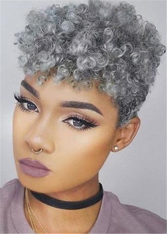 Hair Material: Human Hair Length: Short Hair Texture: Curly Cap Construction: Ca…