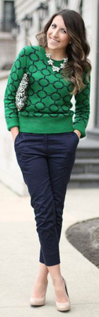 Outfit Posts Post Green Navy Striped Sweater Work Pants