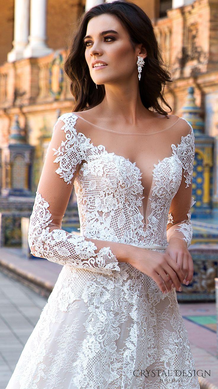 crystal design 2017 bridal long sleeves illusion bateau deep plunging sweetheart neckline full embellishment elegantsheath wedding dress v low back royal train (marlen) zv