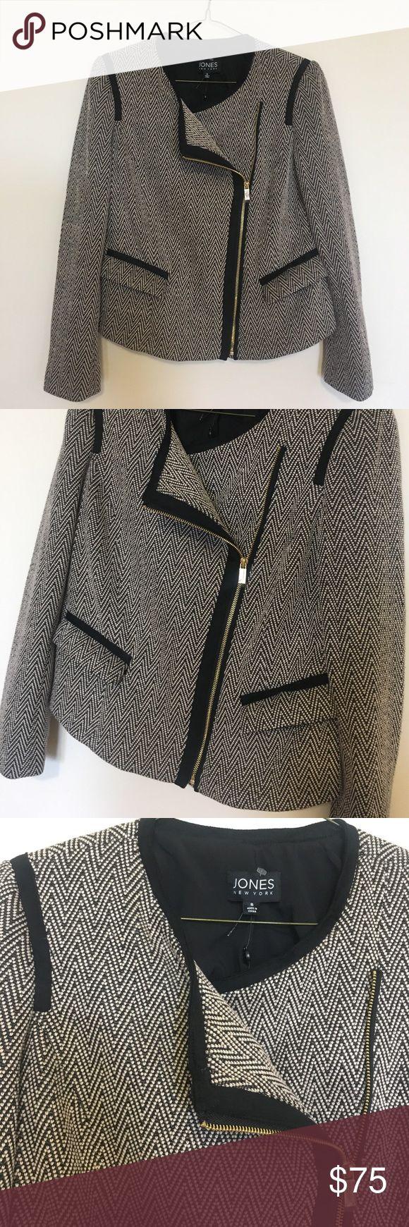 • JONES New York camel Herringbone jacket size 8 • Asymmetrical herringbone jacket. Gold zipper hardware. Brand new with tags. Black and camel combo. Retail $ 149.50 no trades. Jones New York Jackets & Coats