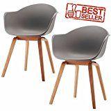 Romeo Lot de 2 chaises avec accoudoirs tendance rétro - salle a manger (gris)