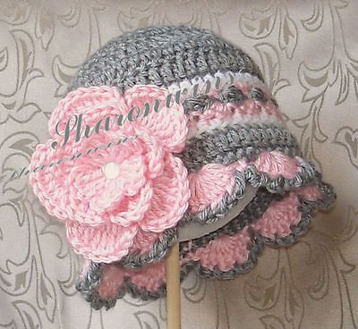 """Made in USA Crochet Baby Girl Pink Rose Flower PHOTO PROP Gray Hat Beanie 15"""""""
