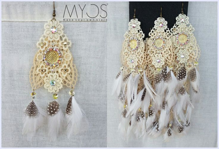 Vintage Trio Lace Earring - Adorned lace with Swarovski crystals. Although doesn't seems to, all MYOS earring are too light. Feathers or other lightweight materials is what give them length. You barely feel it.