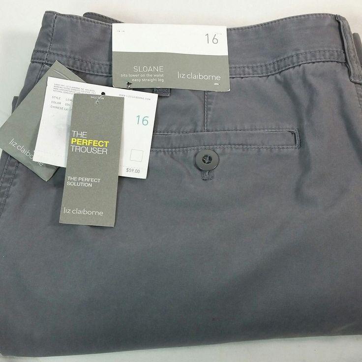Liz Claiborne SLOANE Gray Pants Womens Size 16 Low Waist Straight Leg Trousers #LizClaiborne #StraightLeg #Summer