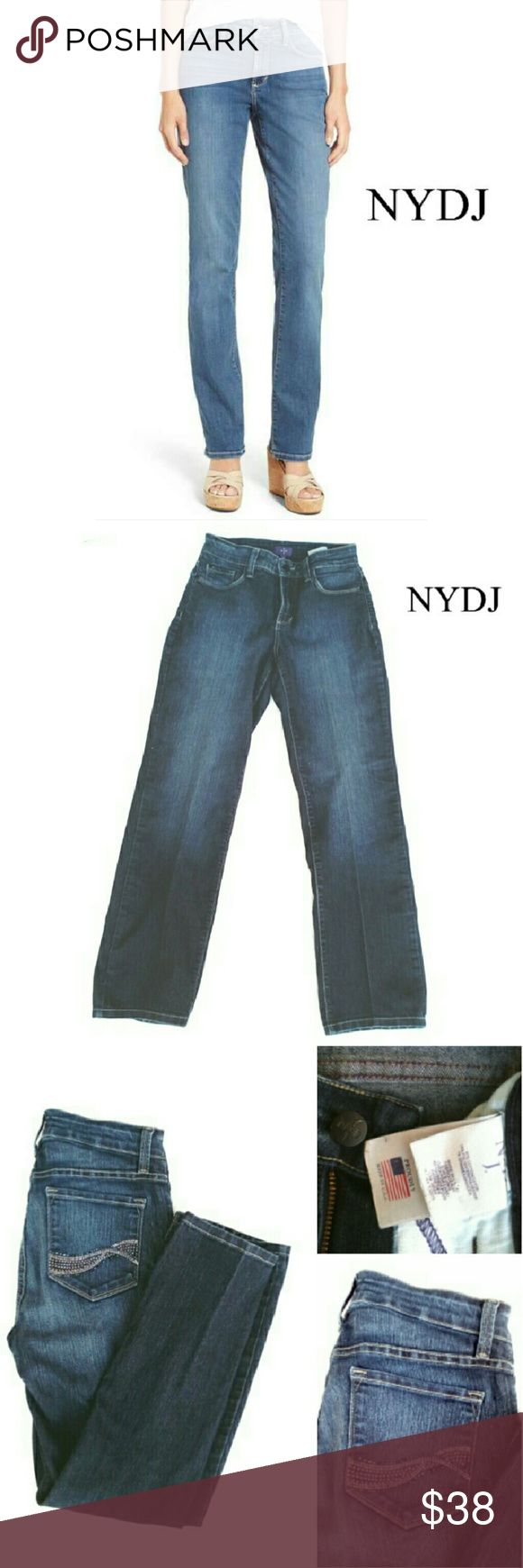 """NYDJ  LIFT & TUCK STRAIGHT LEG PETITE JEANS NYDJ LIFT & TUCK STRAIGHT LEG STRETCH 4P JEANS Pre-Loved  / RN# 132016 HIGH WAISTED - Rise Approx 10"""" 80% Cotton 19% Polyester 1% Spandex Approx Meas; Rise 10"""" W 13"""" Inseam 39"""" Pls See All Pics. Ask ? If Needed NYDJ Jeans Straight Leg"""
