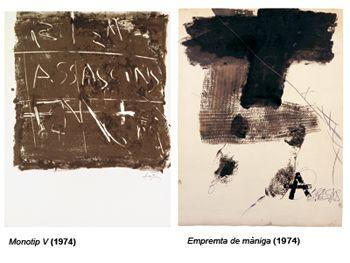 Serie de monotipos, 1974 Monotip V  Monotipo V  Pintura al monotipo sobre papel  55 x 43 cm  Empremta de màniga  Huella de manga  Pintura al monotipo, làpiz y bolígrafo sobre papel  77 x 58 cm