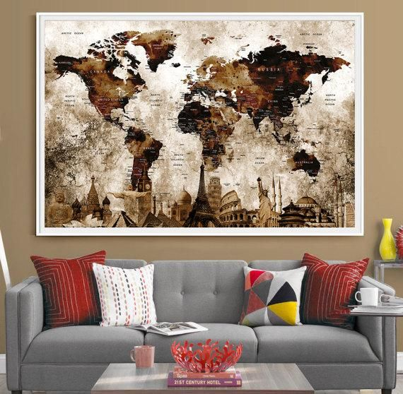 push pin travel map world art deco map countries names world map wall art