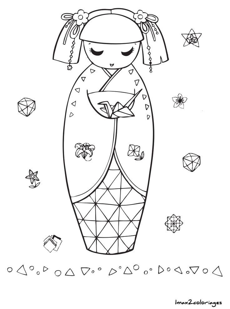 coloriage poupee japonaise numero 13