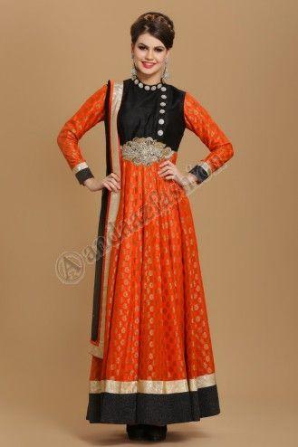 DARK ORANGE VISCOSE CHURIDAR SUIT.  Design No. 1522,   Price : RM449.00,   Dress Type: Churidar Suit,  Fabric: Viscose,  Colour: Dark Orange,  Embellishments: Net dupatta with crystal work amd latkans. Black shantoon churidar.  More Details Visit @ http://www.andaazfashion.com.my/womens/churidar-suits/dark-orange-viscose-churidar-suit.html