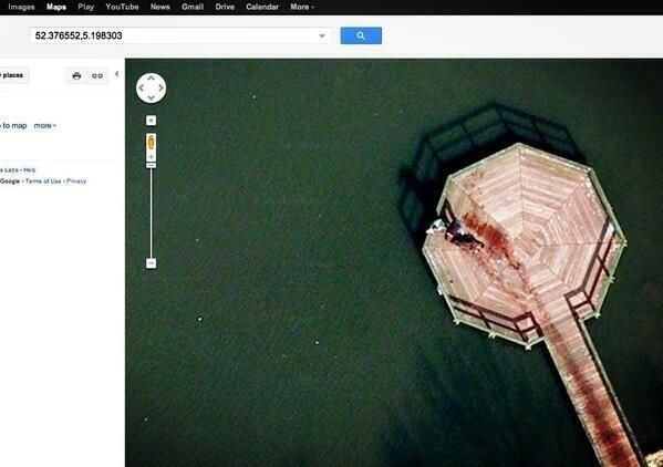 Go on Google Maps. Type in: 52.376552,5.198303 and you'll see two men dragging a body into a lake.. (or two ppl walking their black dog, which ever you prefer)