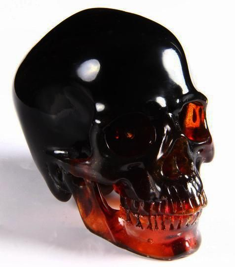 Amber Skull ~Due to its strong connection to nature and the earth, amber is a great stone for grounding our higher energies. Amber can add stability to your life. Helpful in clearing up depression and suicidal thoughts therefore, bringing about a positive mental state. Also useful as a memory aid, which makes it a good stone for studying.