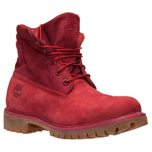 mens timberland roll top boot red