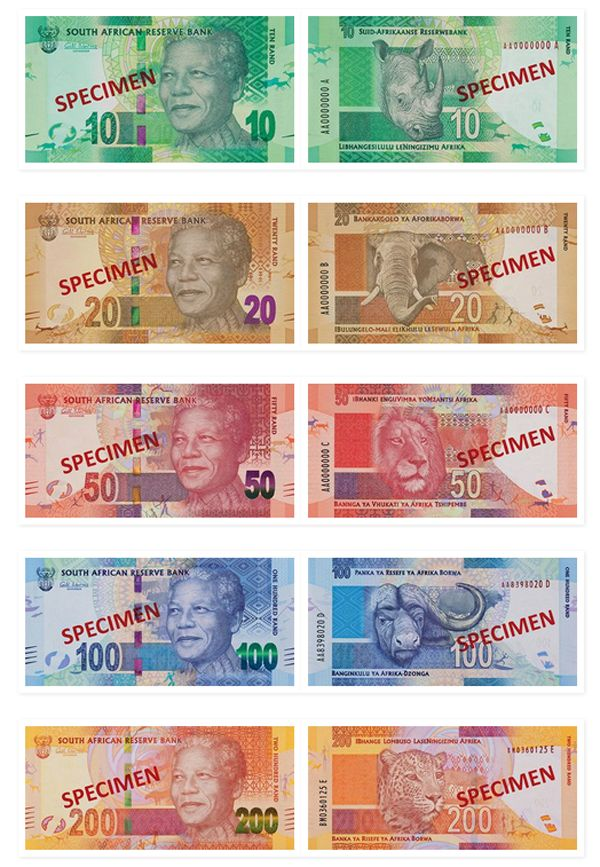 "New South African Banknotes (2012) - Each banknote features an image of South Africa's first democratically elected president Nelson Mandela aka ""Madiba"" on the front. On the back of the South African Rand the notes kept the ""Big Five"" animal images that appear on the current notes."