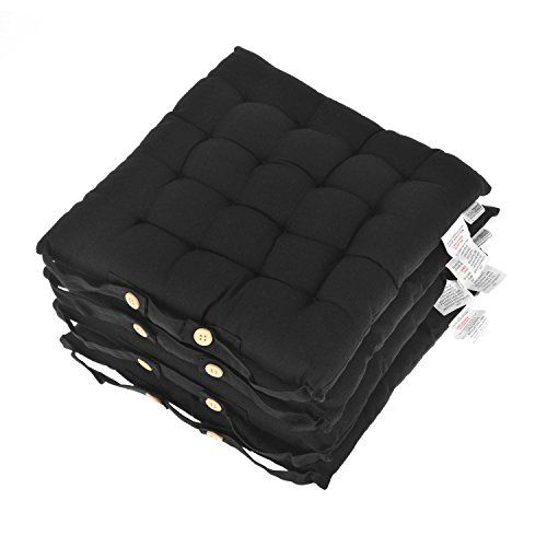 Homescapes Black Seat Pads for Dining Chair, Set of 4 100% Cotton Chair Pads with Straps, 40x40 cm