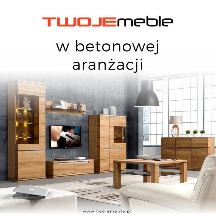 Twoje meble w aranżacjach z betonu – na zdjęciu meble do salonu z kolekcji Torino, Szynaka Meble #TwojeMeble #AranżacjeZBetonu #MedleDoSalonu #KolekcjaMebli #Torino #SzynakaMeble