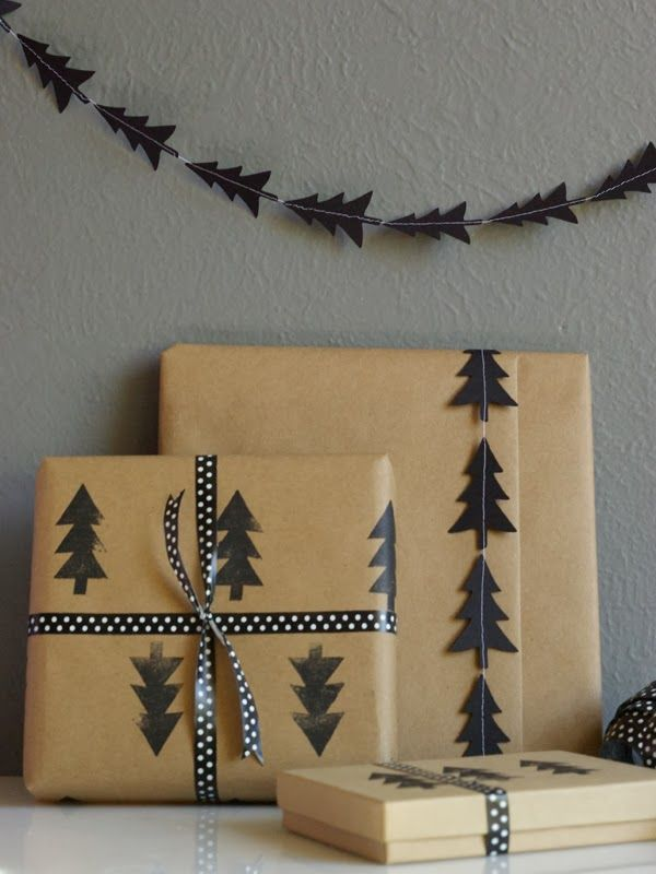 Oleander and Palm: DIY Black Tree Garland and Stamped Wrapping Paper