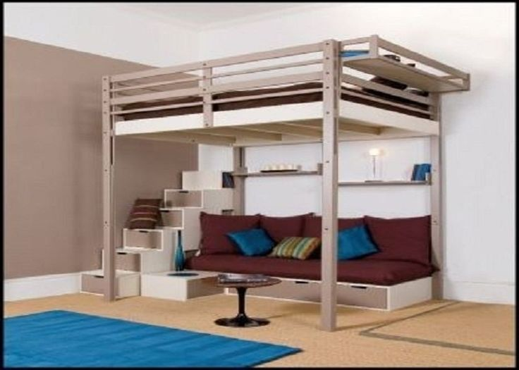 get a queen loft bed frame with a support bar that goes through the middle of