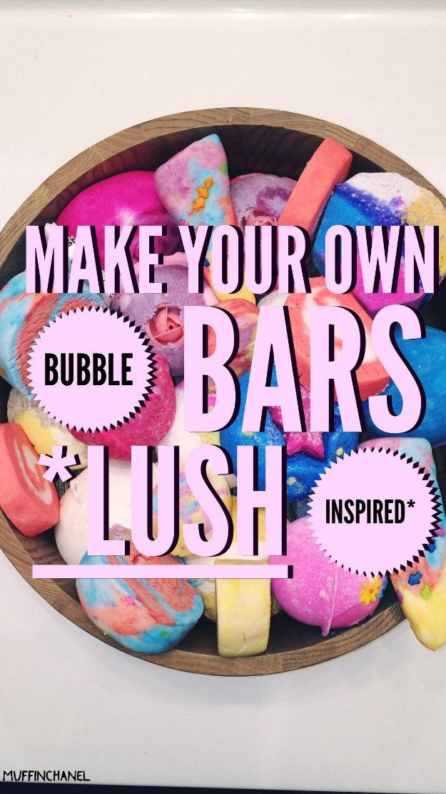 DIY Lush Inspired Recipes - Make Your Own Bubble Bars - How to Make Lush Products like Bath Bombs, Face Masks, Lip Scrub, Bubble Bars, Dry Shampoo and Hair Conditioner, Shower Jelly, Lotion, Soap, Toner and Moisturizer. Copycat and Dupes of Ocean Salt, Buffy, Dark Angels, Rub Rub Rub, Big, Dream Cream and More. http://diyprojectsforteens.com/diy-lush-copycat-recipes