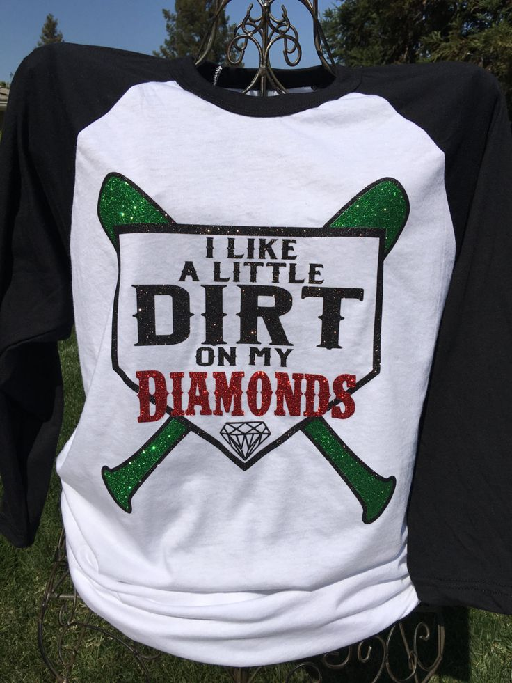 Custom Raglan, Dirt on my Diamonds, Baseball TShirt, Baseball Mom, Glitter, Custom TShirt, Spirit Wear by flyinshirer on Etsy