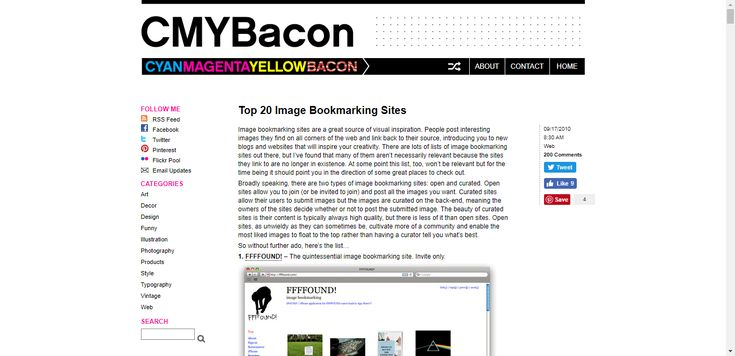 Top 20 Image Bookmarking Sites | CMYBacon