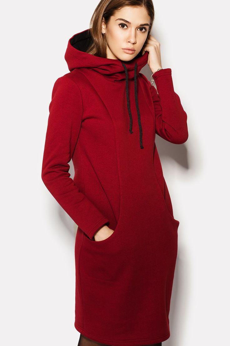 Купить бордовое платье INITA с капюшоном в магазине TM CARDO