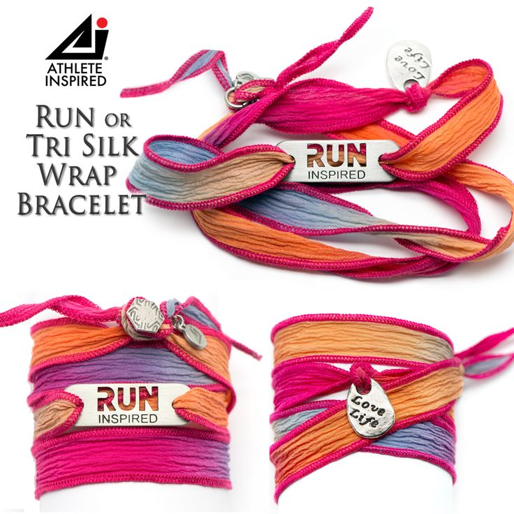 "This fun, Run Inspired or Tri Inspired beautiful silk wrap bracelet is approximately 26"" in length. Silk is hand dyed with pink/orange/blue/purple blend. Features a ""Love Life"" charm knotted onto the wrap along with a button clasp. Silk is slightly stretchy and can be wrapped around wrist several times."