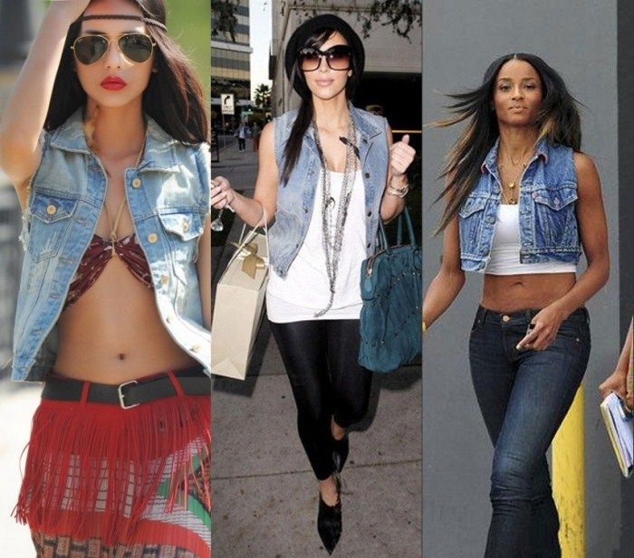 Image result for sleeveless jean jacket outfit