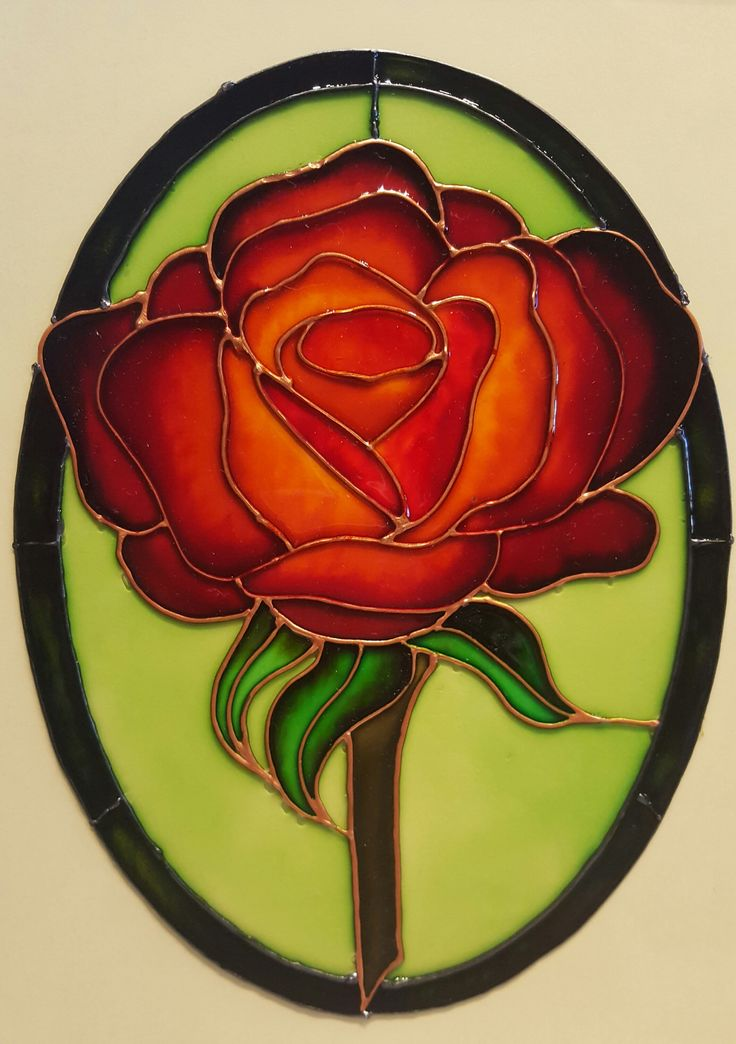 glass painted Rose
