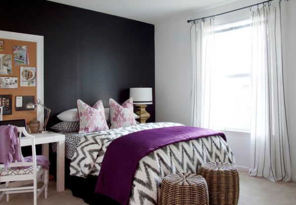 Elegant Purple Shades Decor for Mysterious and Pretty Interiors: Wonderful Purple Room And Interior Design Accent Women Bedroom