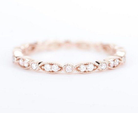 Diamond Wedding Band 14K Rose Gold / http://www.himisspuff.com/wedding-bands-for-women/6/