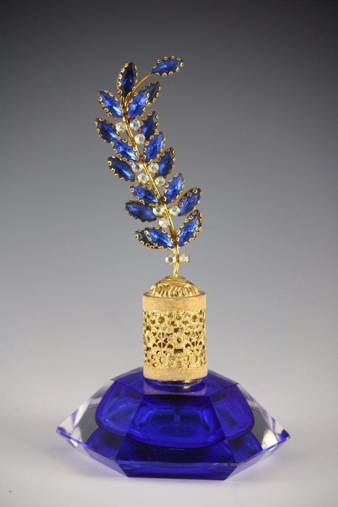 Vintage IRice Cobalt Blue Glass Perfume Bottle