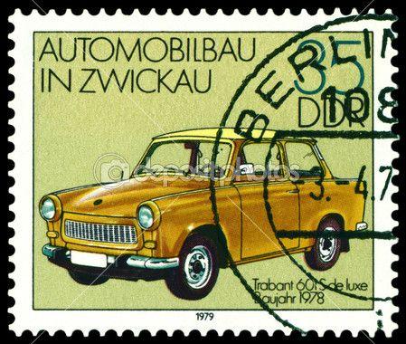 Vintage postage stamp. Old car Trabant 601S