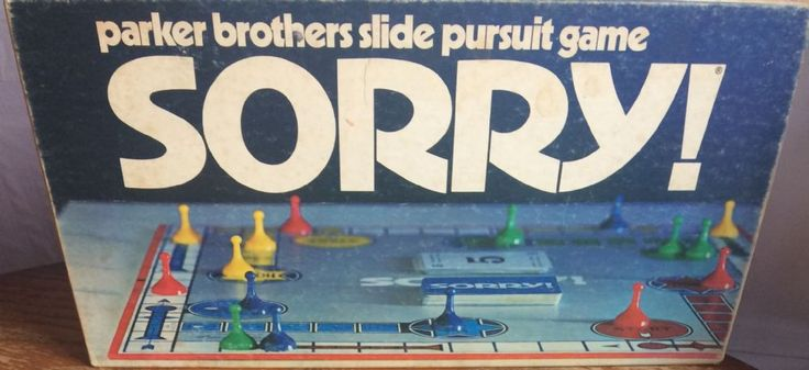 Sorry Board Game Parker Brothers Slide Pursuit Game made in 1972 This fantastic very rare edition of Sorry Board Game comes 100 complete with rules