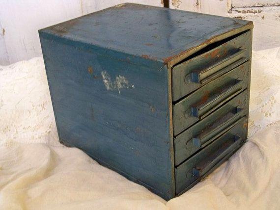 Blue industrial vintage metal utility drawers by AnitaSperoDesign, $45.00