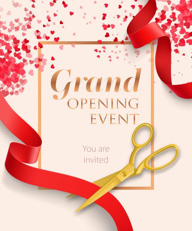 Letras De Evento De Gran Inauguracion Con Cintas Rojas Grand Opening Invitations Grand Opening Party Invite Template