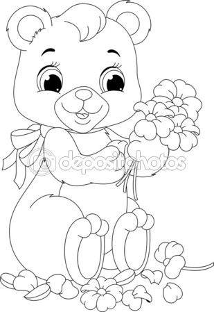 Baixar - Urso para colorir página — Ilustração de Stock #56794695