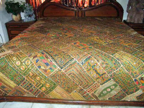 Green Bed Cover Kutch Embroidered India Bedspreads Mirror Work Tapestry Throw | eBay