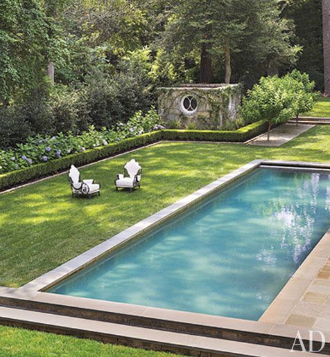 Suzanne Kasler's back yard: Pools Area, Lap Pools, Swimming Pools, Outdoor Living, Backyard, Outdoor Spaces, Architecture Digest, Back Yard, Suzann Kasler