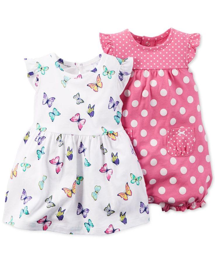 Carter's Baby Girls' 2-Pack Butterfly Dress & Pink Dot Romper