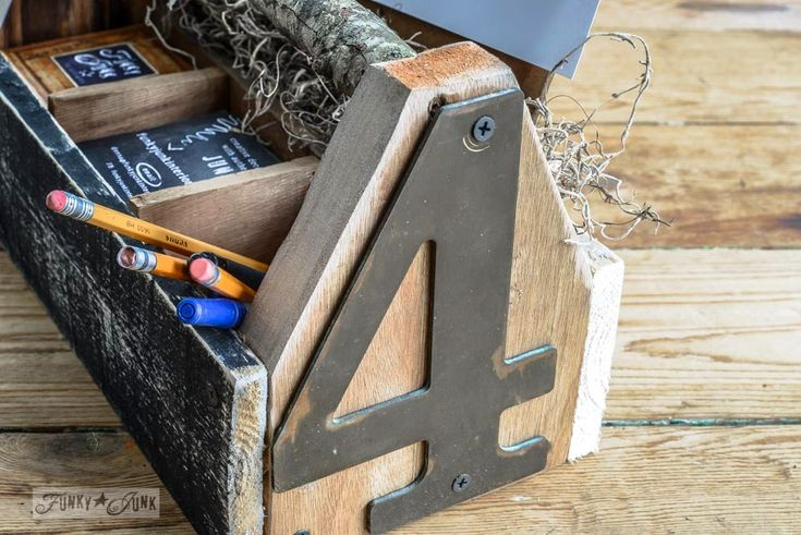 Brass house number bling / Reclaimed wood business card holder toolbox via FunkyJunkInteriors.net: