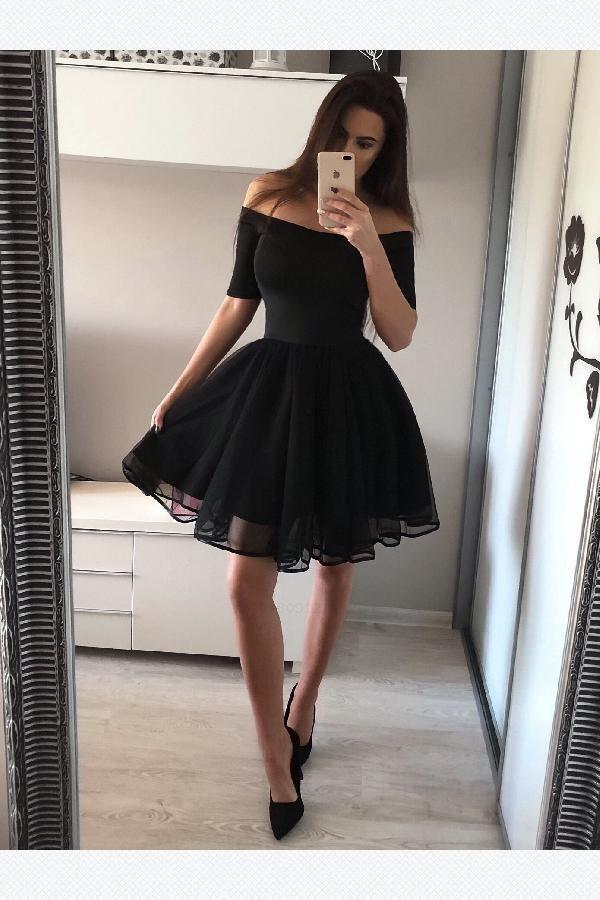 A-Line Homecoming Dresses, Black Homecoming Dresses #ALineHomecomingRresses #Bla…