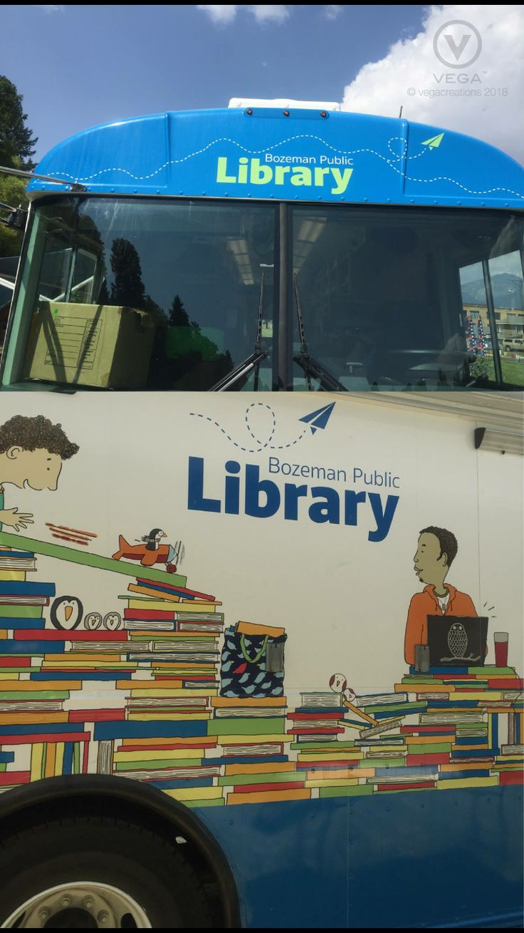 Like books.!? The BPL bookmobile travels throughout Gallatin County visiting playgrounds, neighborhoods, assisted living homes. Schools and attending special events. The bookmobile has something for everyone! Keep posted at https://www.bozemanlibrary.org/ Logo design by Vegacreations.